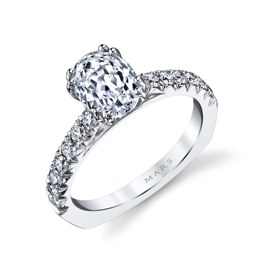 MARS Ever After Oval Diamond Euro Shank Engagement Ring Setting Angle View