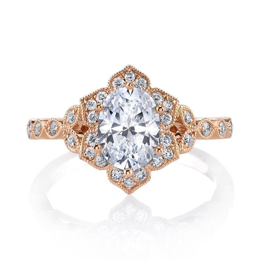 MARS Golden Blossoms Oval Diamond Halo Engagement Ring Setting
