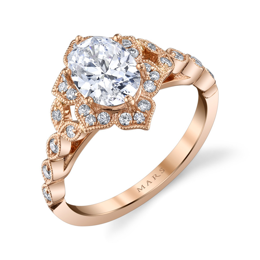 MARS Golden Blossoms Oval Diamond Halo Engagement Ring Setting Angle View