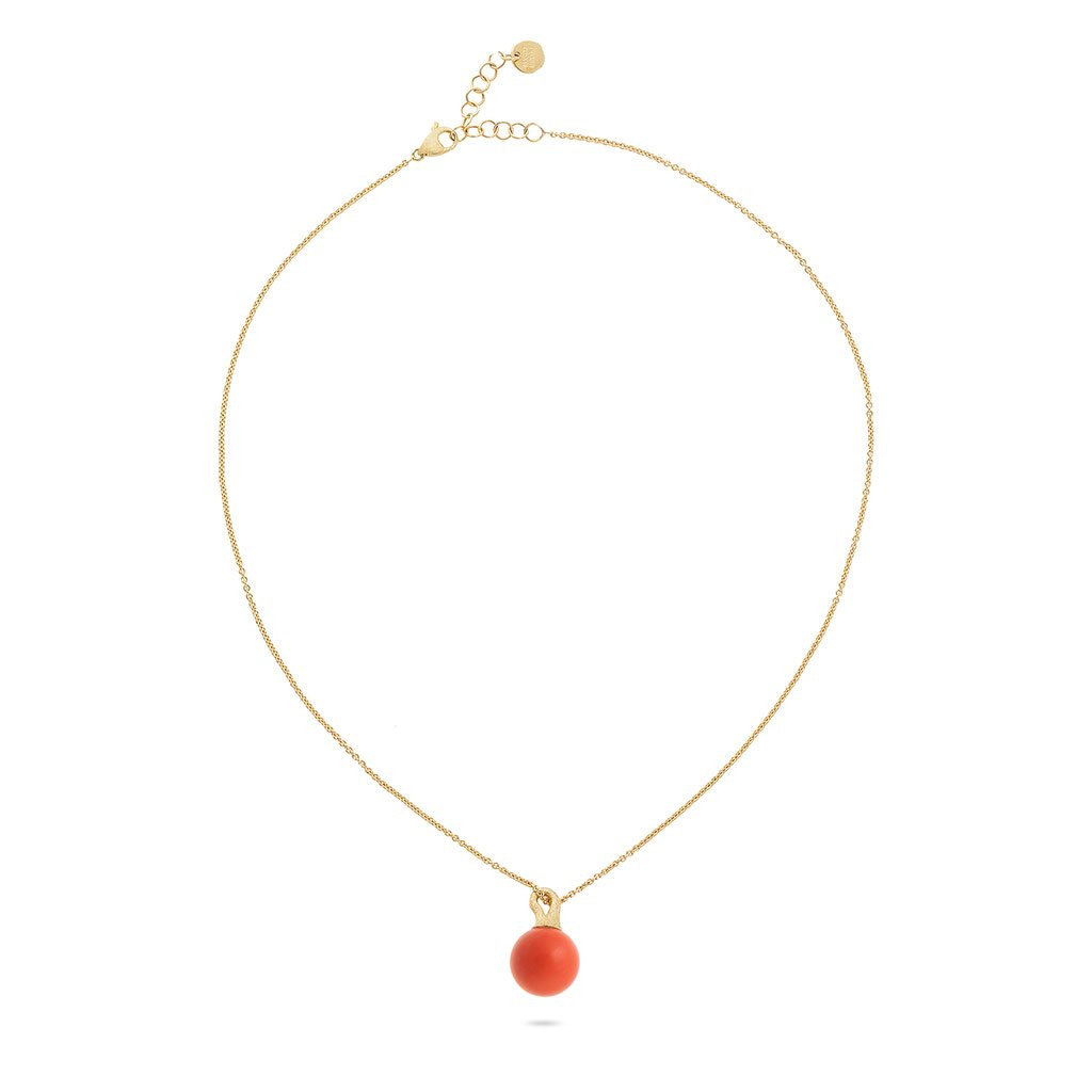 Marco Bicego Africa Boules Coral Necklace in 18K Gold full view