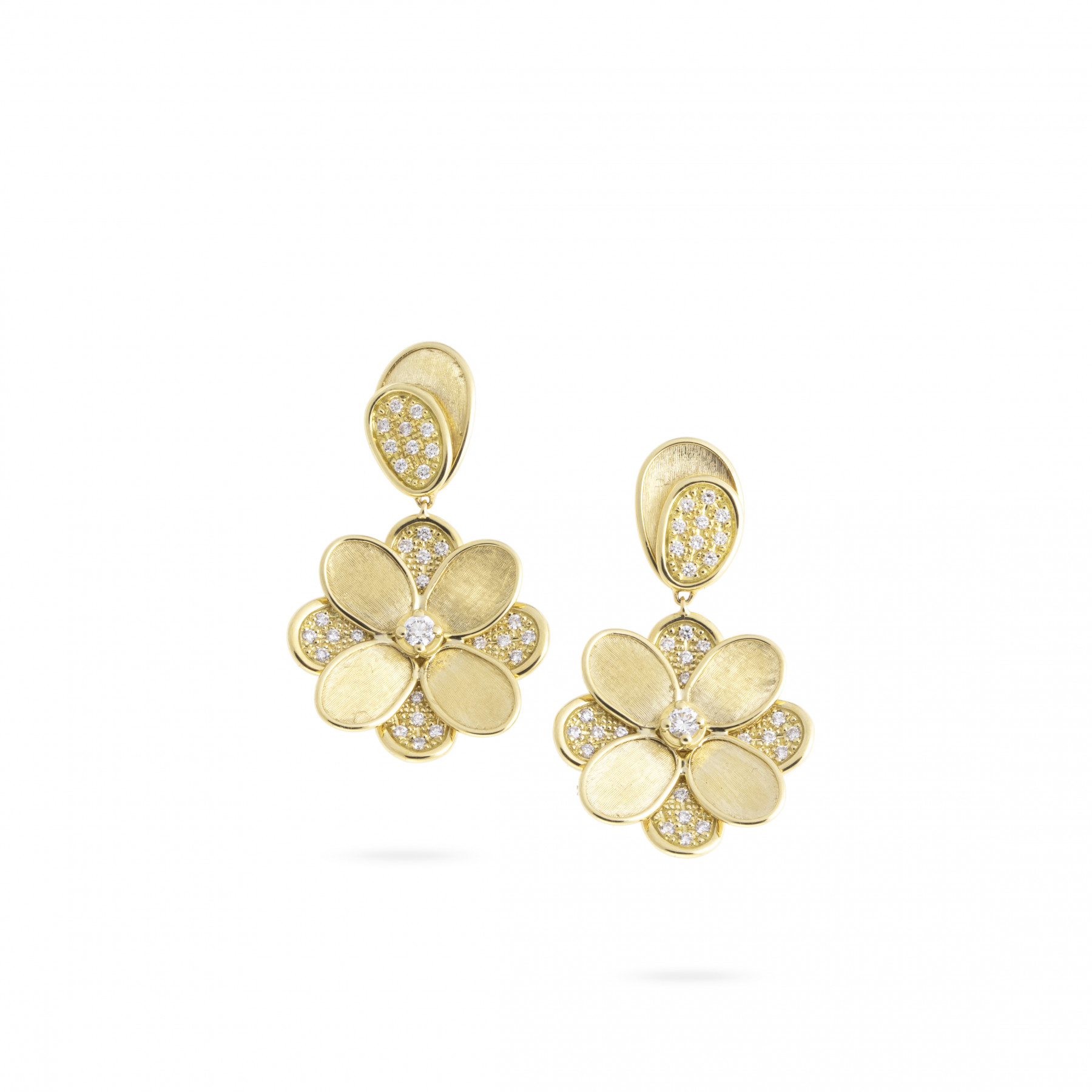 Marco Bicego Petali 18K Gold Pave Diamond Flower Drop Earrings