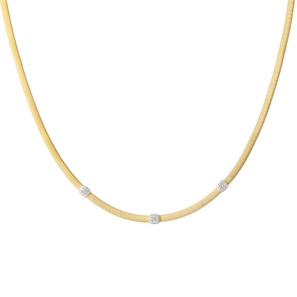 Marco Bicego Masai Yellow Gold Three Station Diamond Necklace