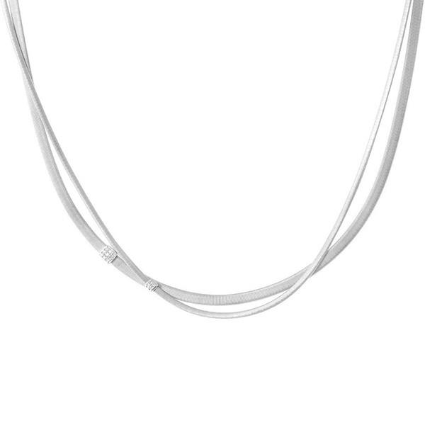 Marco Bicego Masai White Gold Two Strand Diamond Necklace