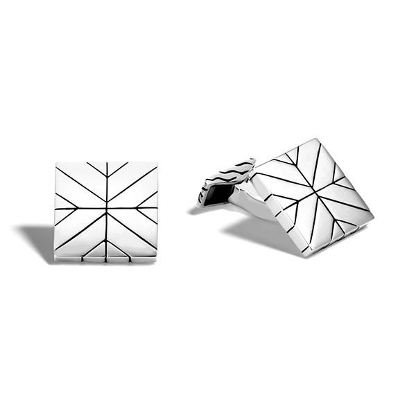 John Hardy Silver Modern Chain Square Cufflinks