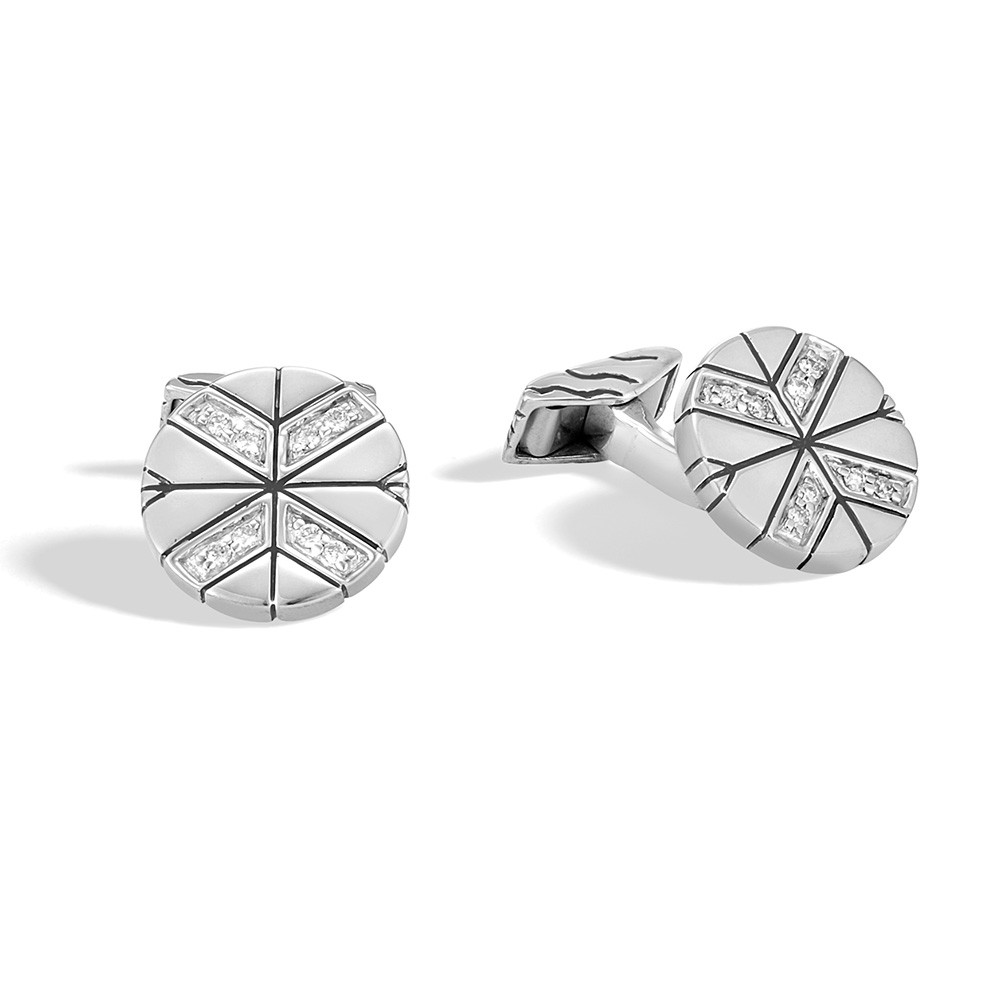 John Hardy Round Modern Chain Sterling Silver & Diamond Cufflinks