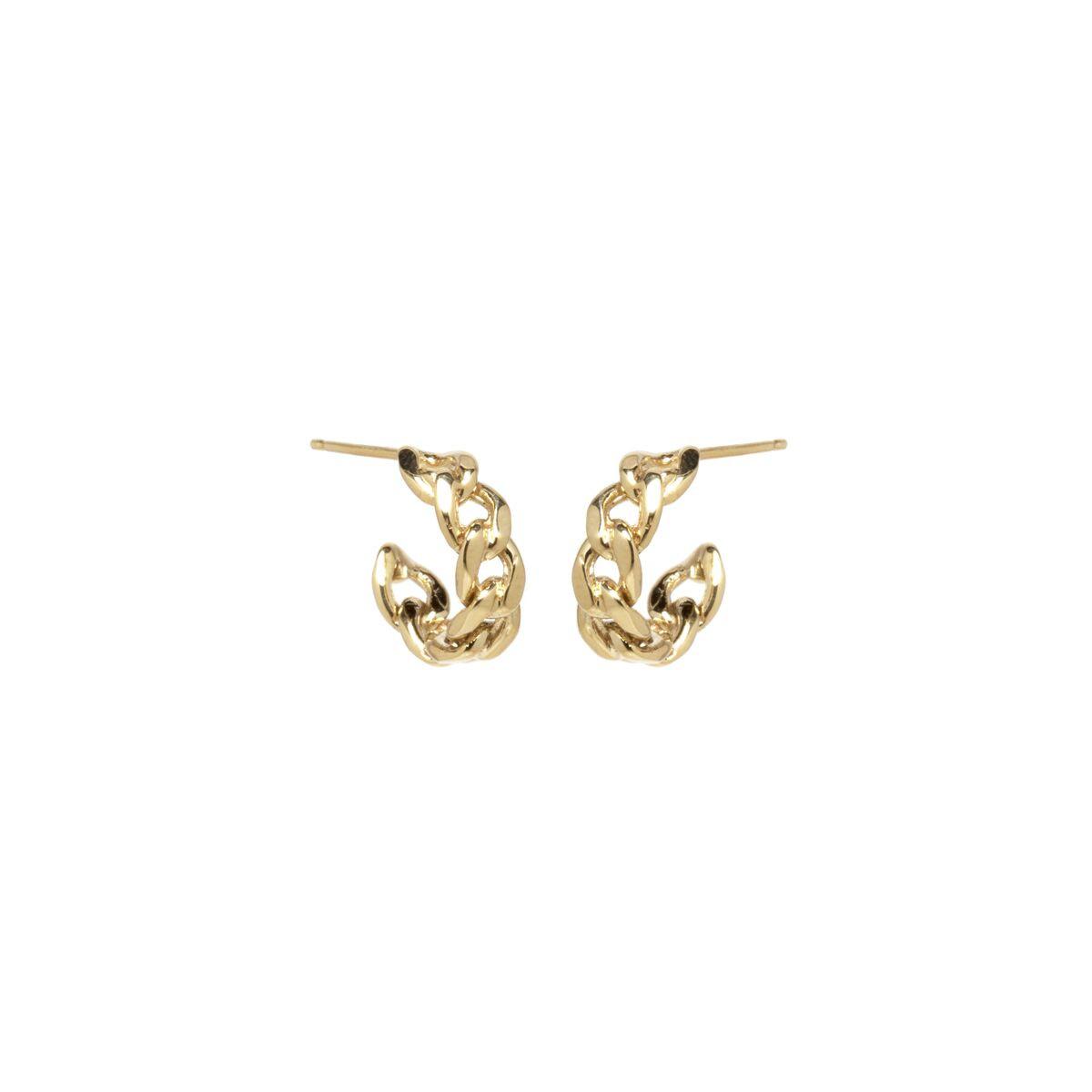 Zoe Chicco Medium Chain Hoop Earrings in Gold