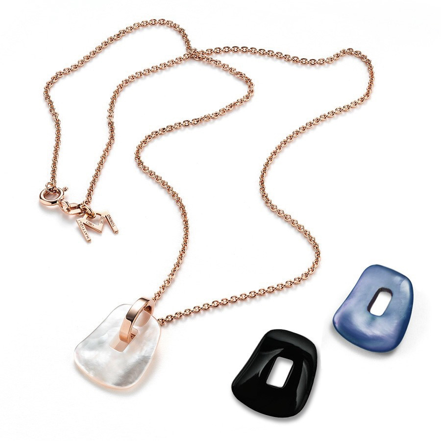 Mattioli Puzzle Small Interchangeable Mother of Pearl  Rose Gold Necklace - Set of 3