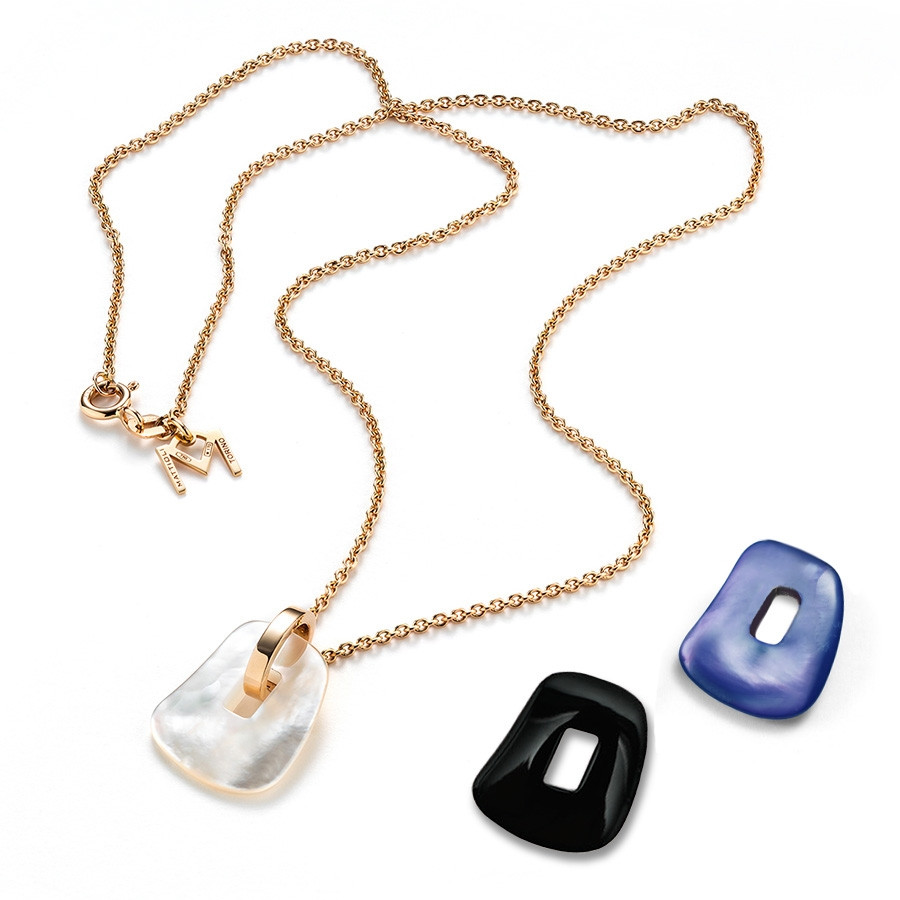 Mattioli Puzzle Interchangeable Mother of Pearl Yellow Gold Pendant Set