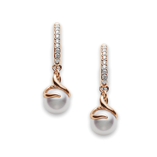 Mikimoto Akoya Pearls and Diamond Rose Gold Twist Earrings 7mm