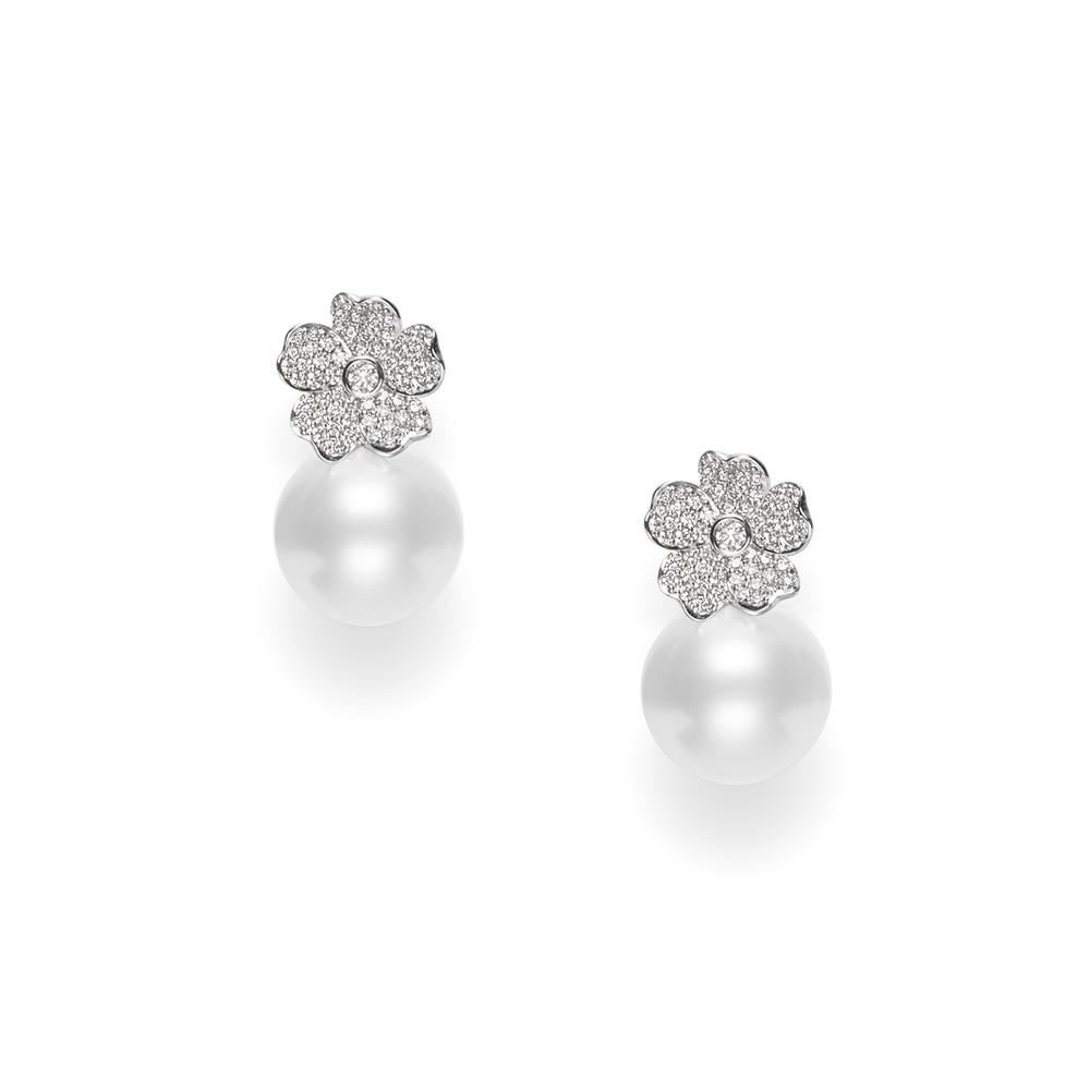 Mikimoto Diamond Flower White South Sea Pearl Drop Earrings