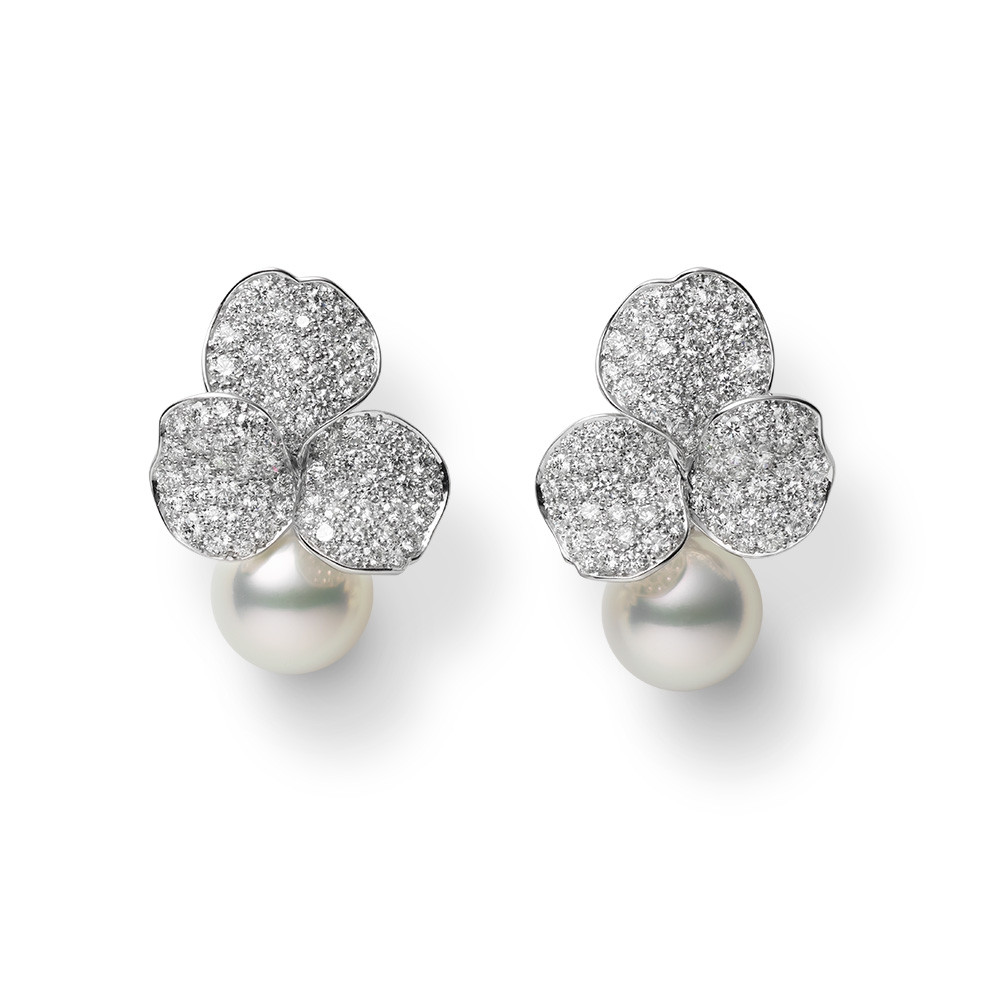 Mikimoto White Gold & Diamond Les Petales Place Vendome Earrings