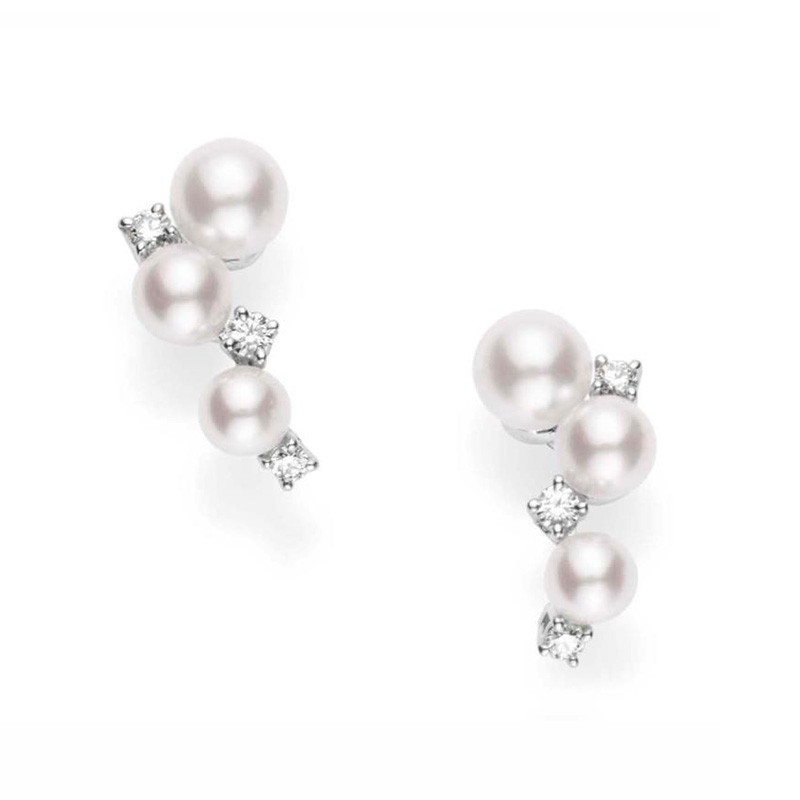 Mikimoto Akoya Pearl & Diamond Cluster Earrings in White Gold