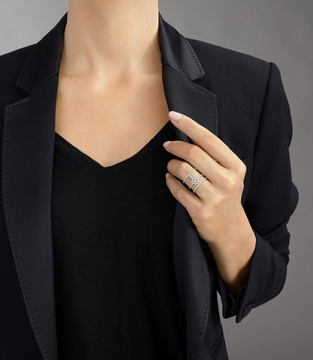 Messika Glam'Azone 3 Row Pavé Diamond Ring in 18K Gold on model