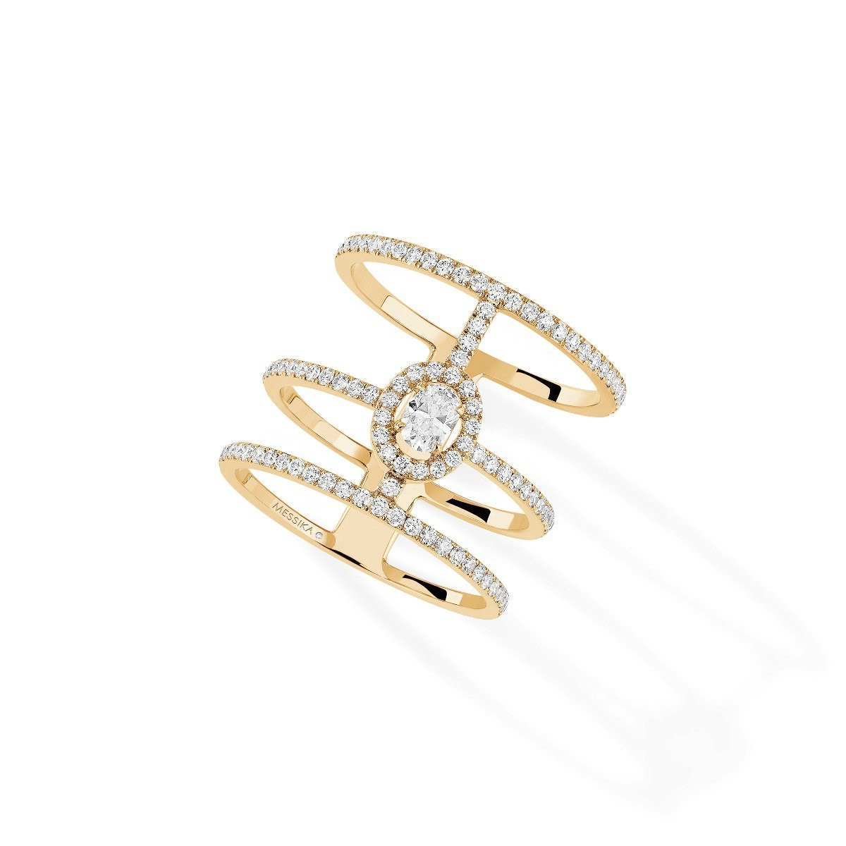 Messika Glam'Azone 3 Row Pavé Diamond Ring in 18K Gold front view