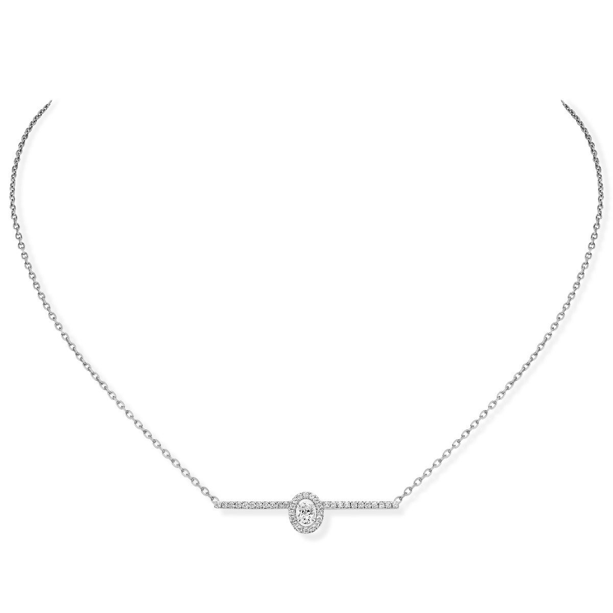 Messika Glam'Azone 18K Gold Pavé Diamond Oval Bar Necklace front view