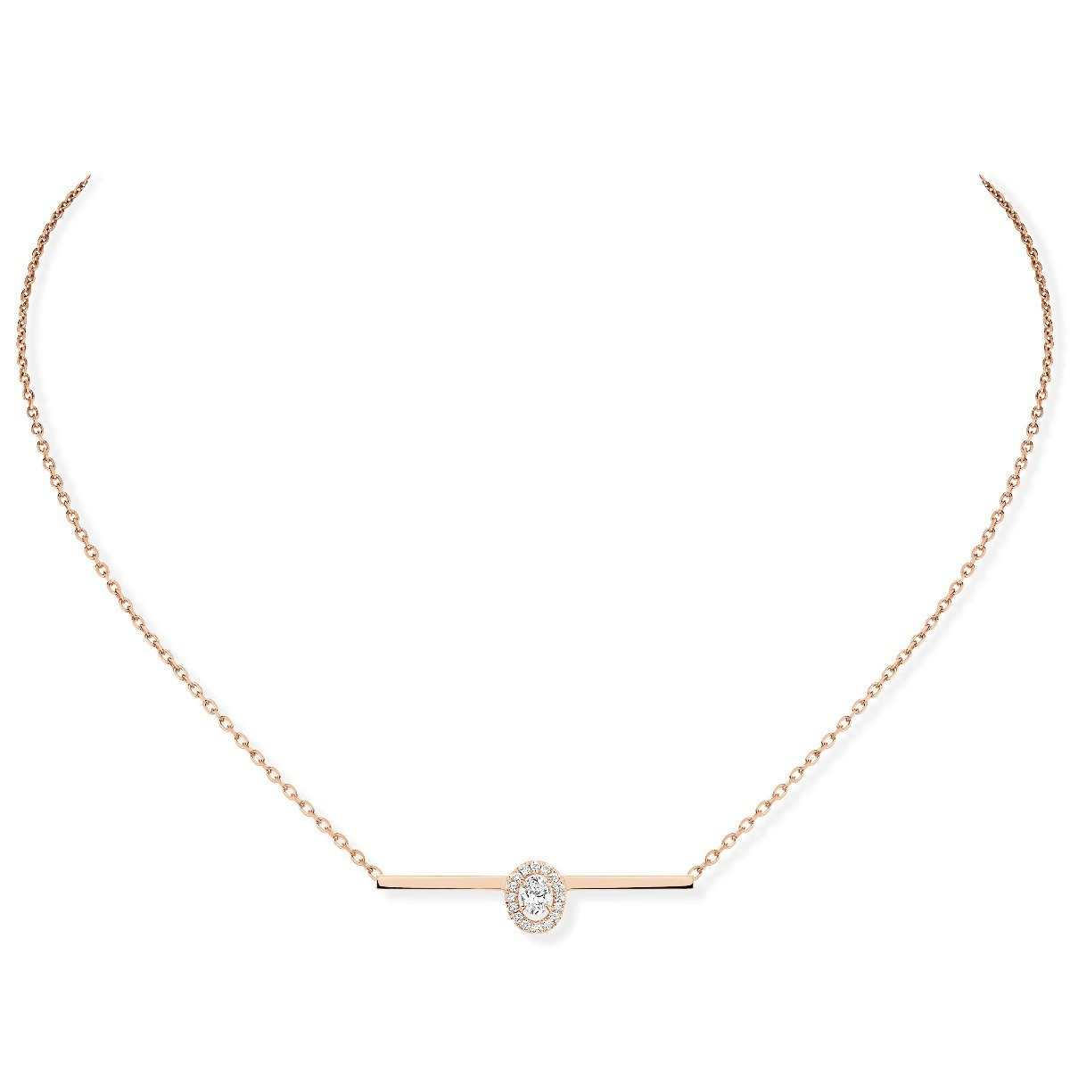 Messika Glam'Azone Diamond Oval Bar Necklace in 18K Gold front view