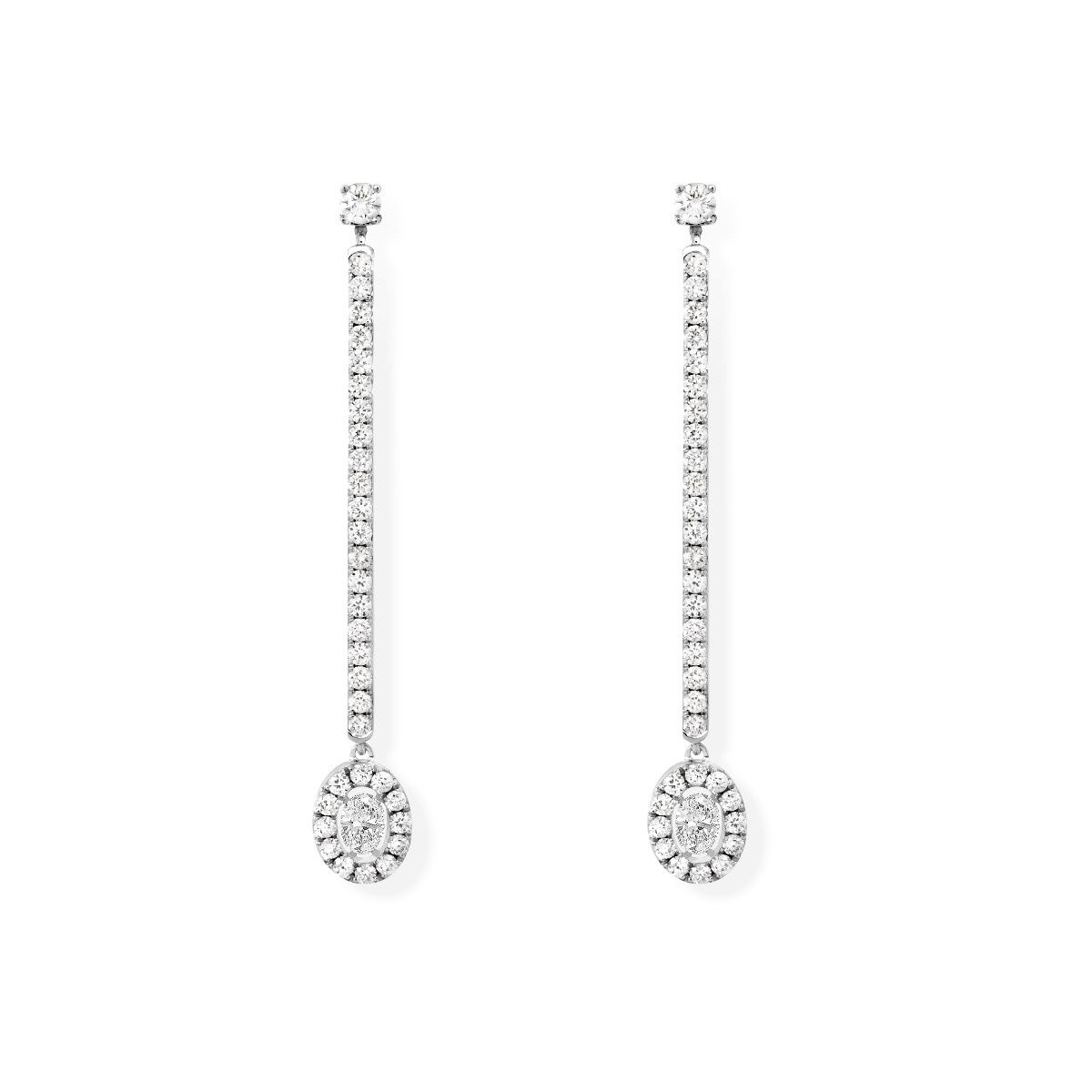 Glam'Azone Diamond Oval Drop Earrings in 18K Gold front view