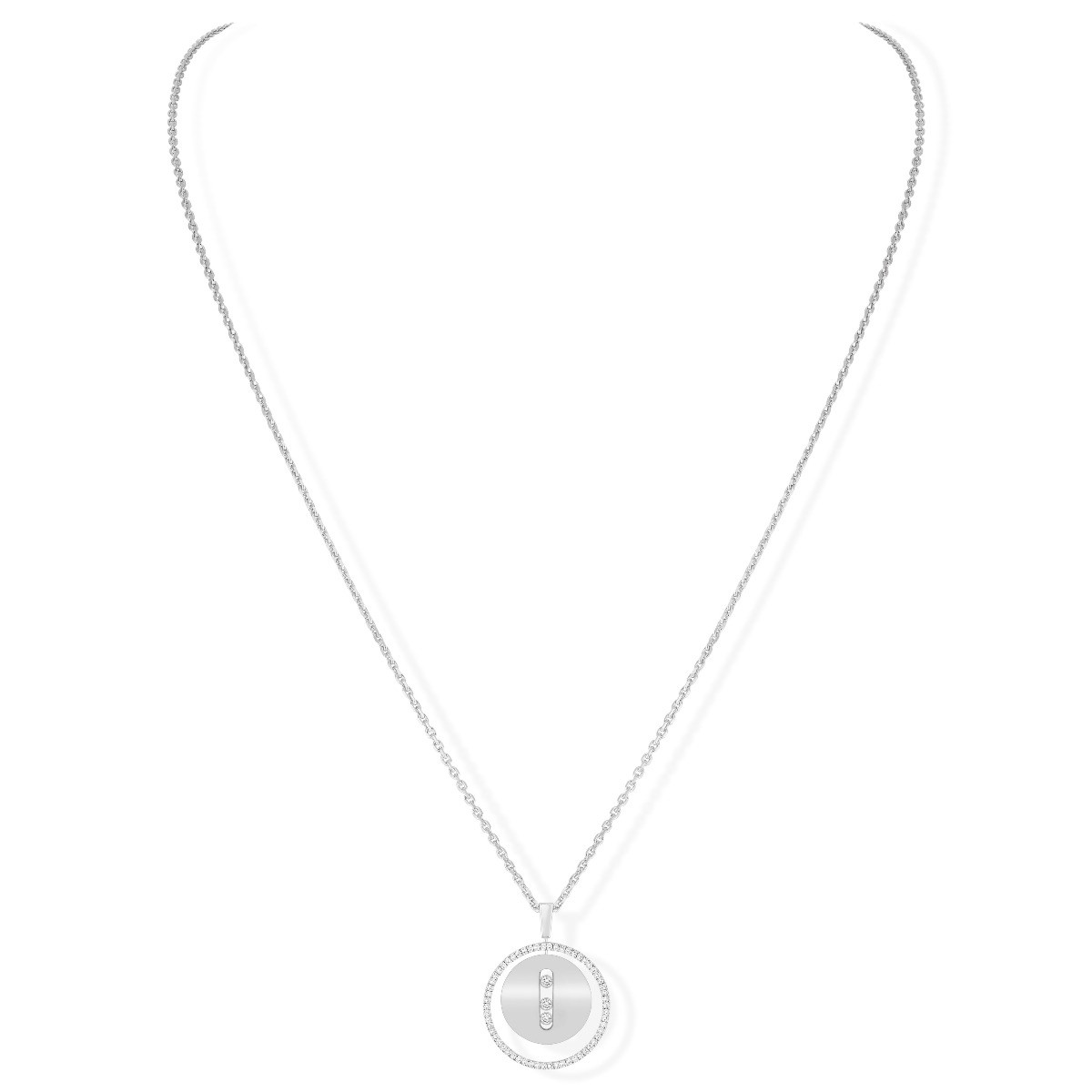 Messika Lucky Move MM Diamond Circle Necklace in 18K White Gold