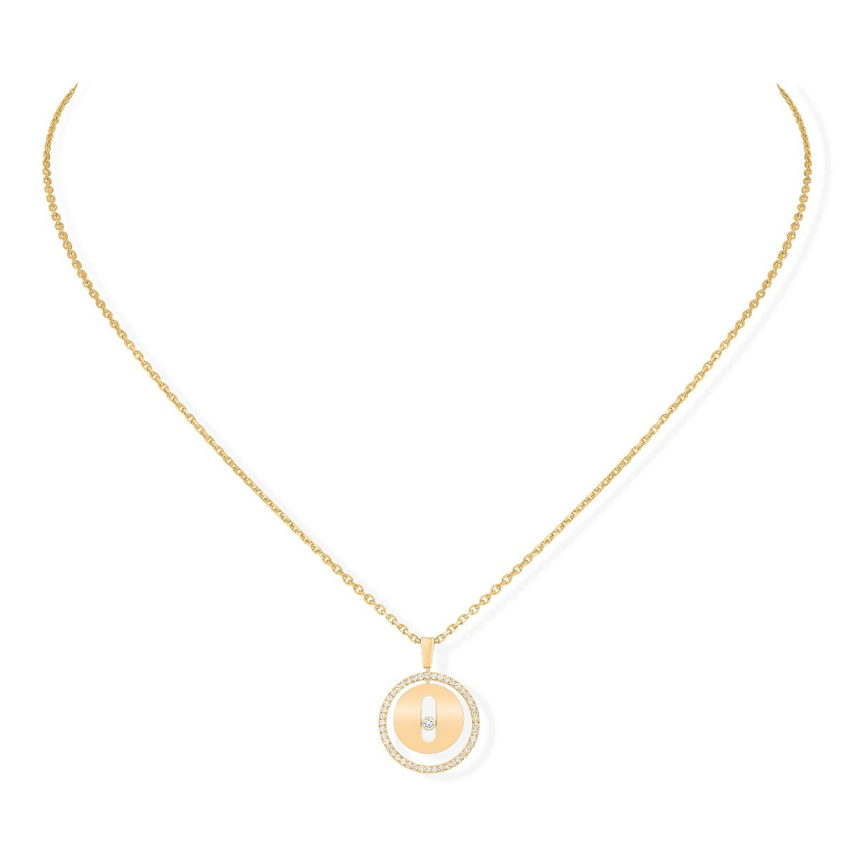Messika Lucky Move PM Diamond Circle Necklace in 18K Yellow Gold