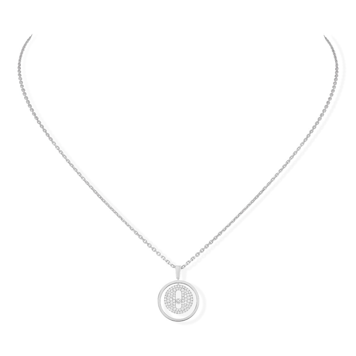 Messika Lucky Move PM Pavé Diamond Circle Necklace in 18K White Gold