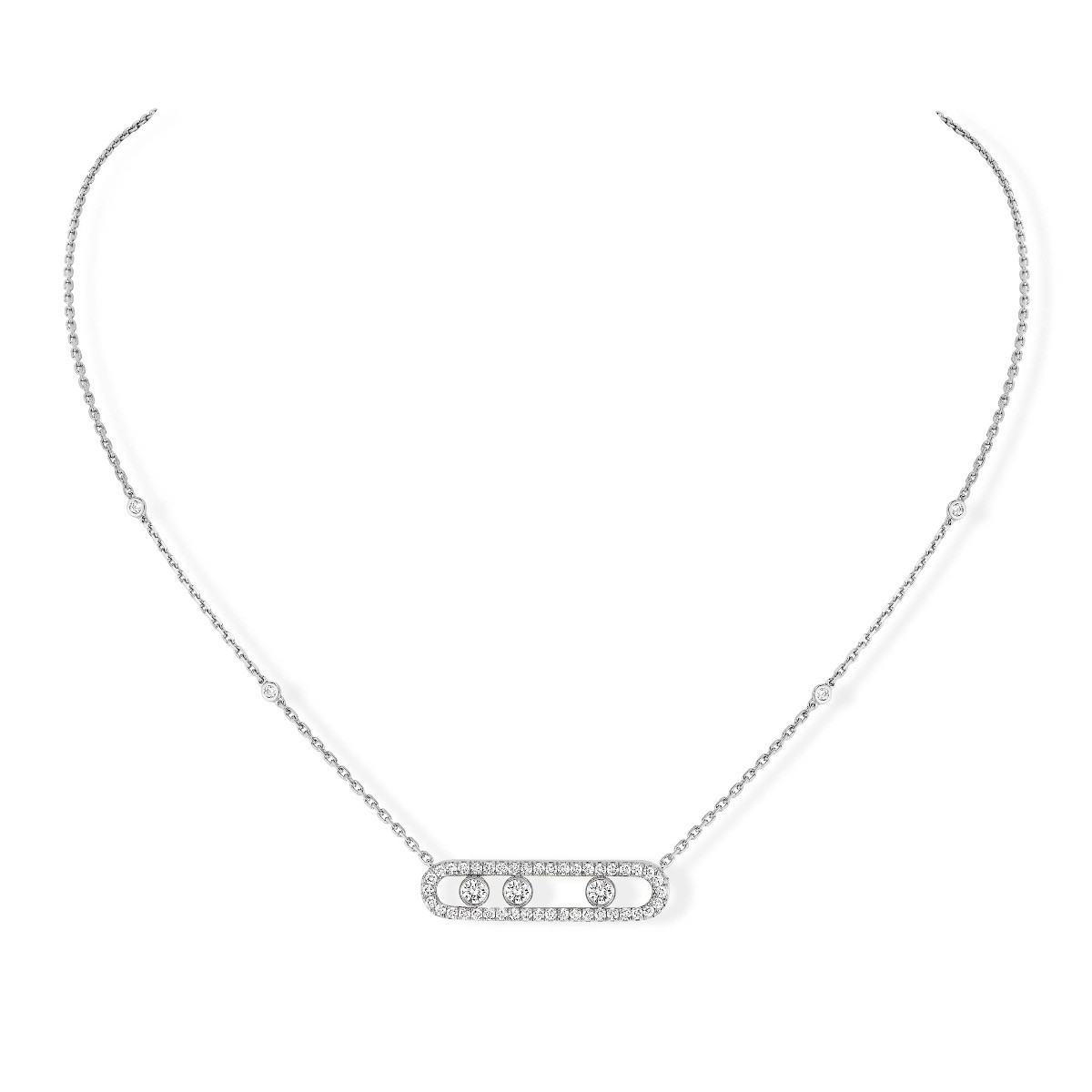 Messika Move Pavé Diamond Cage Necklace in 18K Gold front view