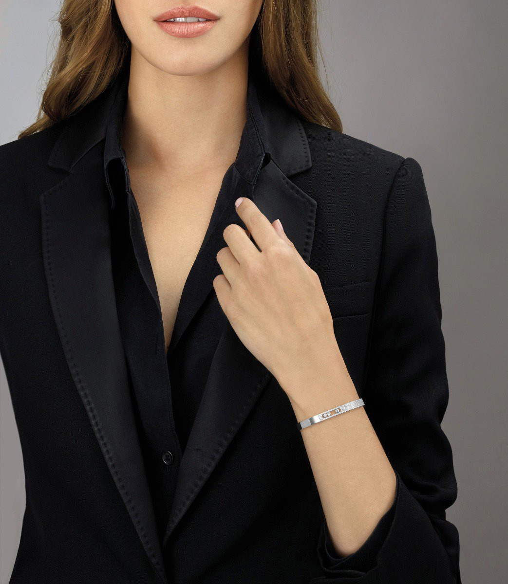 Messika Move Noa Pavé Diamond Bangle Bracelet in 18K Gold on model