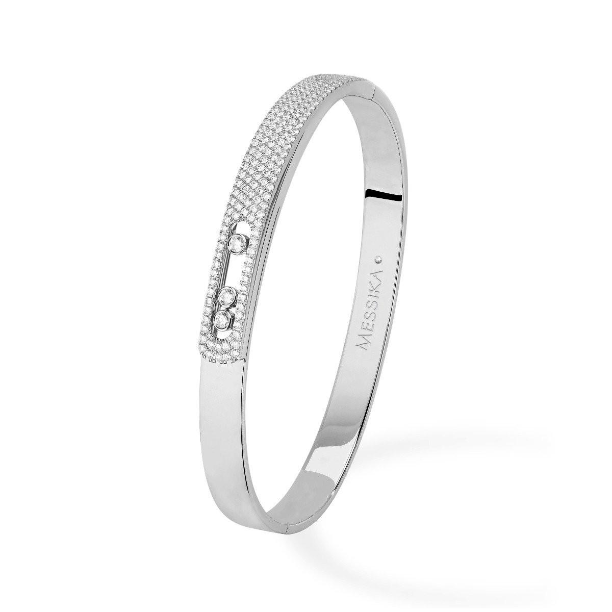 Messika Move Noa Pavé Diamond Bangle Bracelet in 18K Gold front view