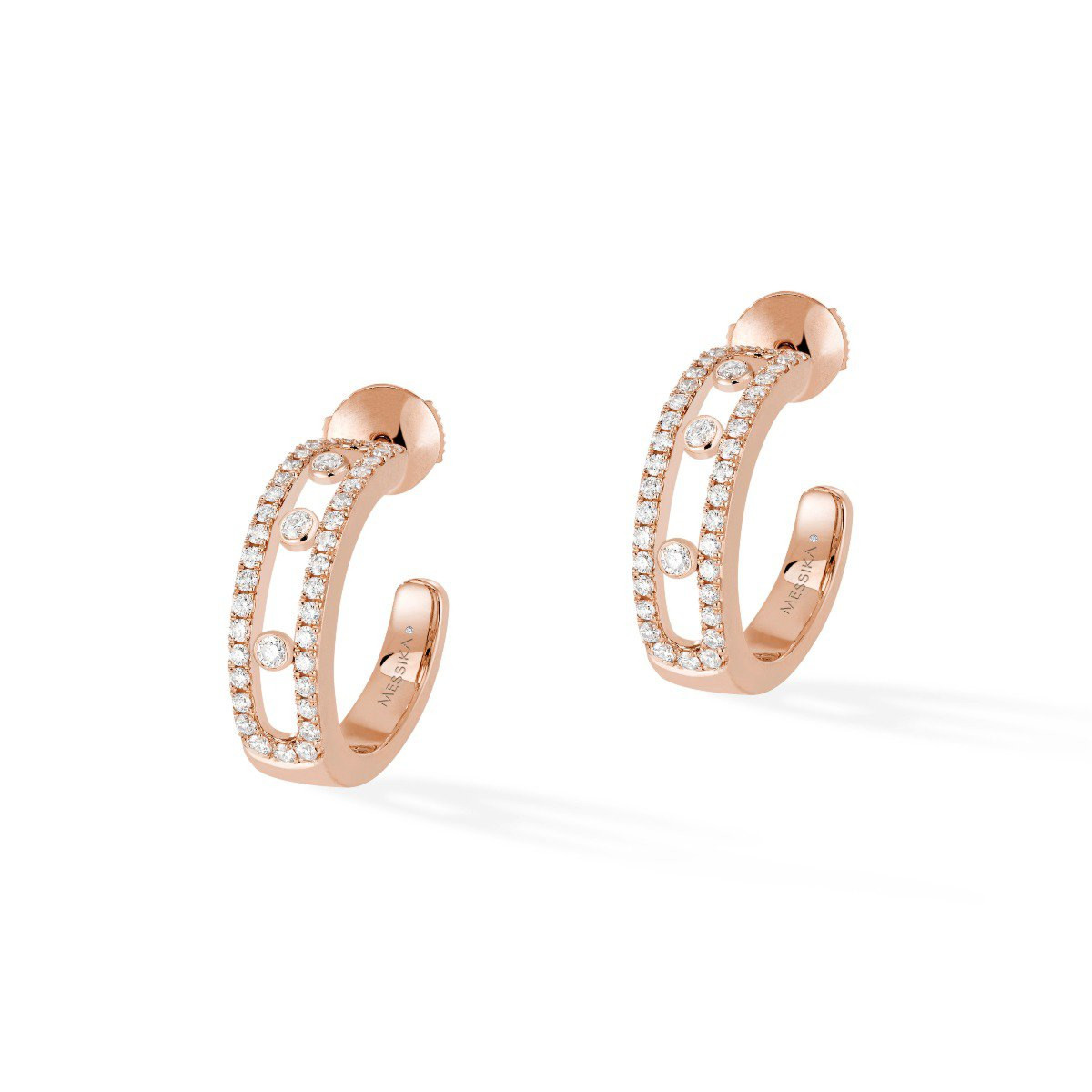 Messika Move Pavé Diamond Hoops in 18K Gold front view