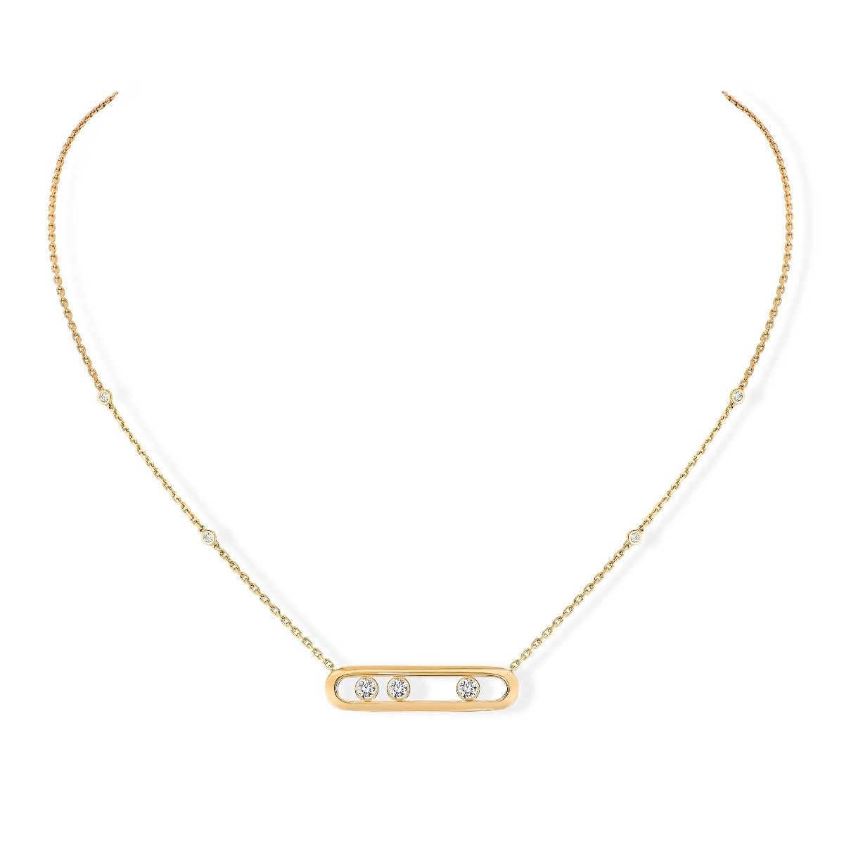 Messika Move Plain Cage Diamond Necklace in 18K Gold front view
