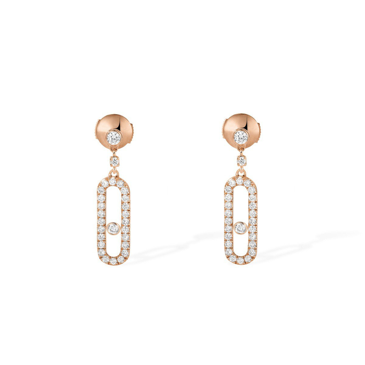 Messika Move Uno Diamond Cage Drop Earrings in 18K Gold front view
