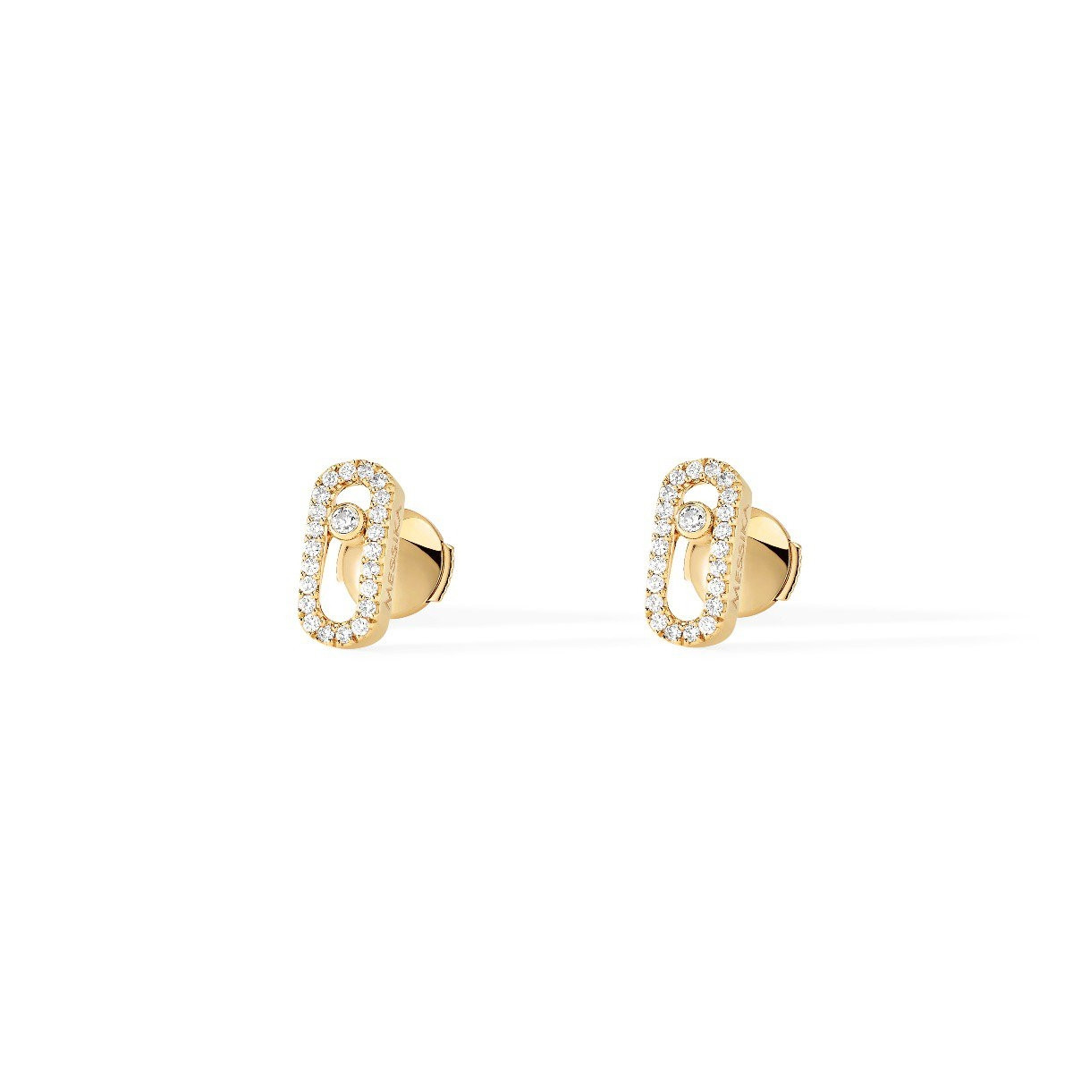 Messika Move Uno 18K Gold Diamond Cage Studs front view