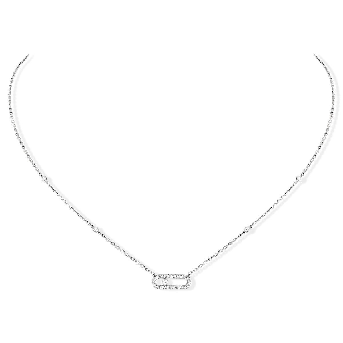 Messika Move Uno Pavé Diamond Cage Necklace in 18K Gold front view
