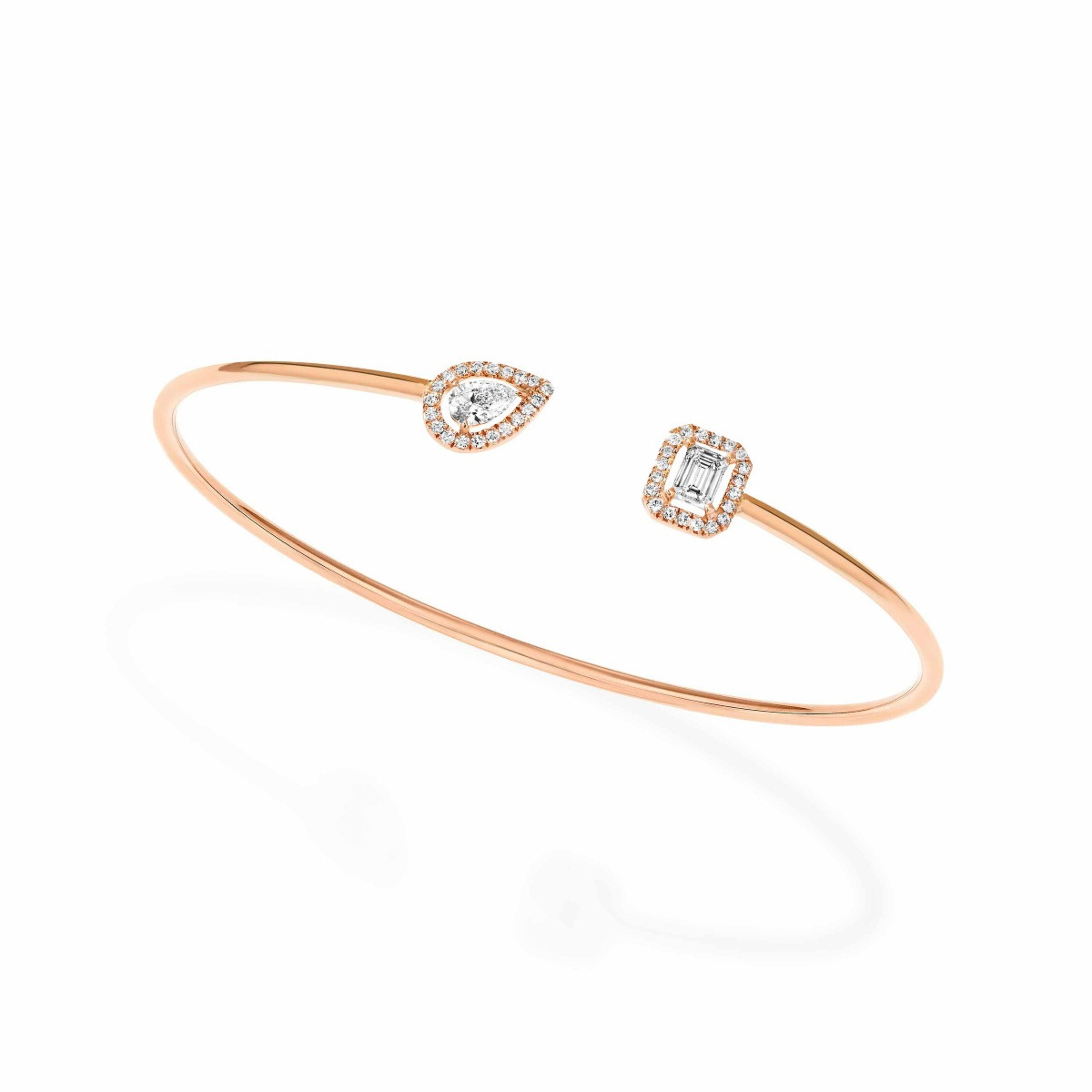 Messika My Twin Toi & Moi Thin Bangle in 18K Gold tilted view