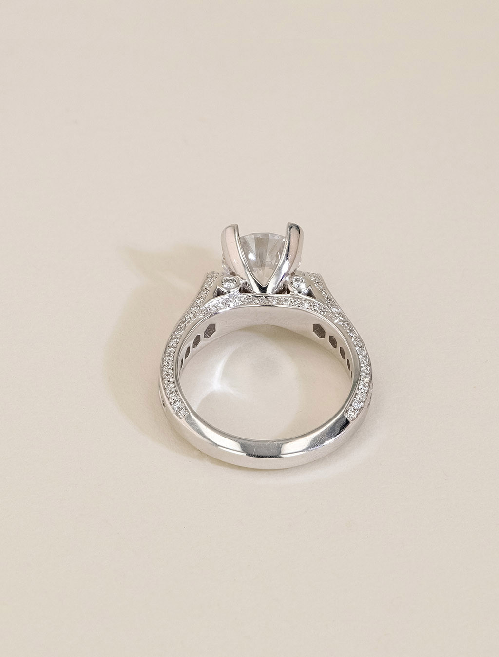 Michael M 18K Gold Round Channel Diamond Engagement Ring Setting back view