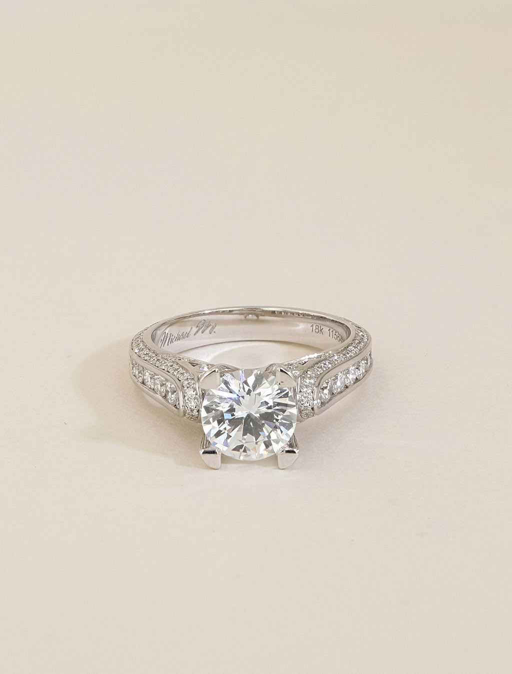 Michael M 18K Gold Round Channel Diamond Engagement Ring Setting front view