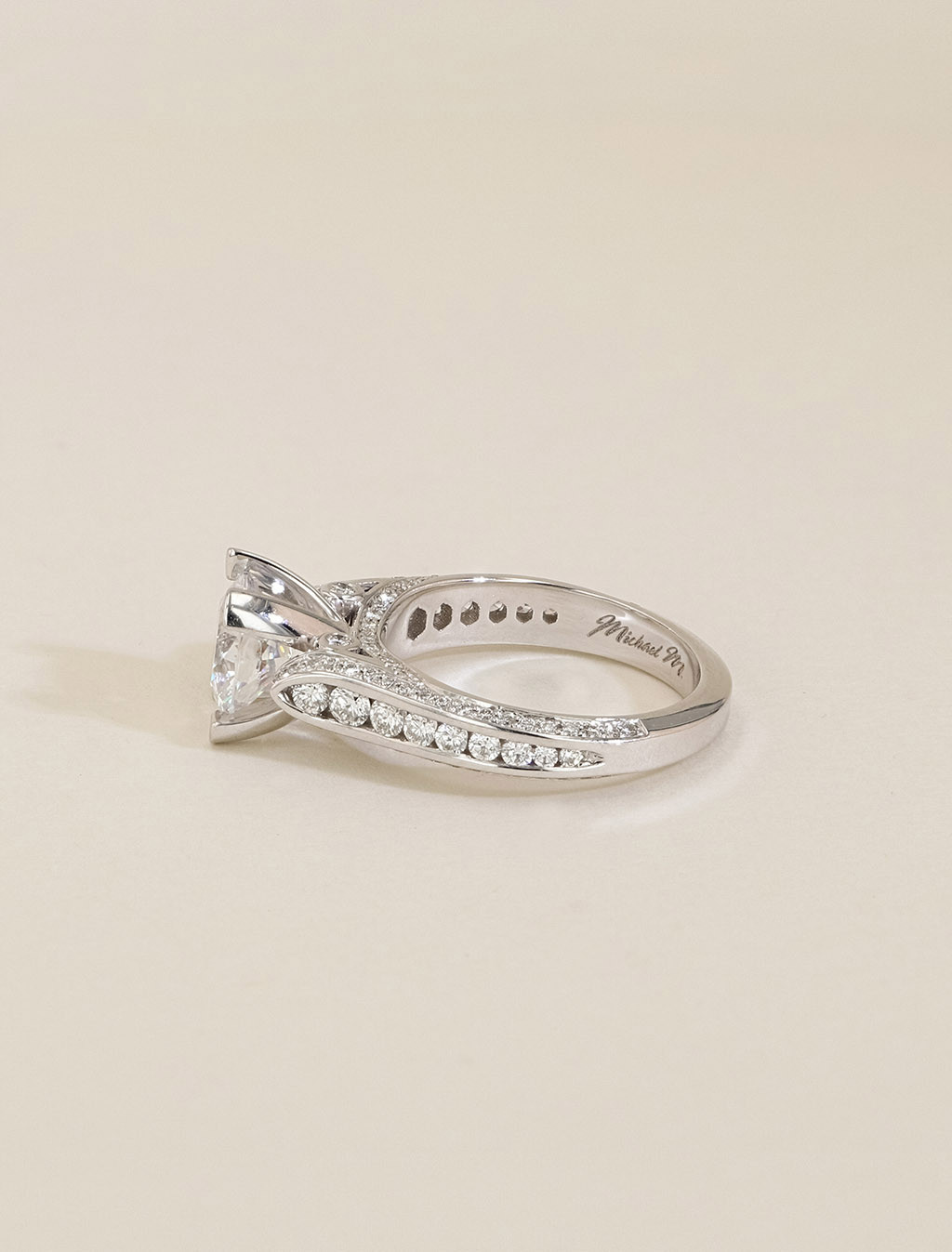 Michael M 18K Gold Round Channel Diamond Engagement Ring Setting side view