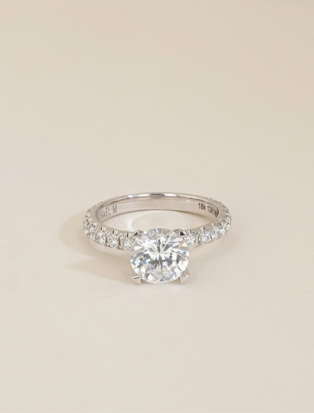Michael M 18K Gold Round Pavé Diamond Engagement Ring Setting front view