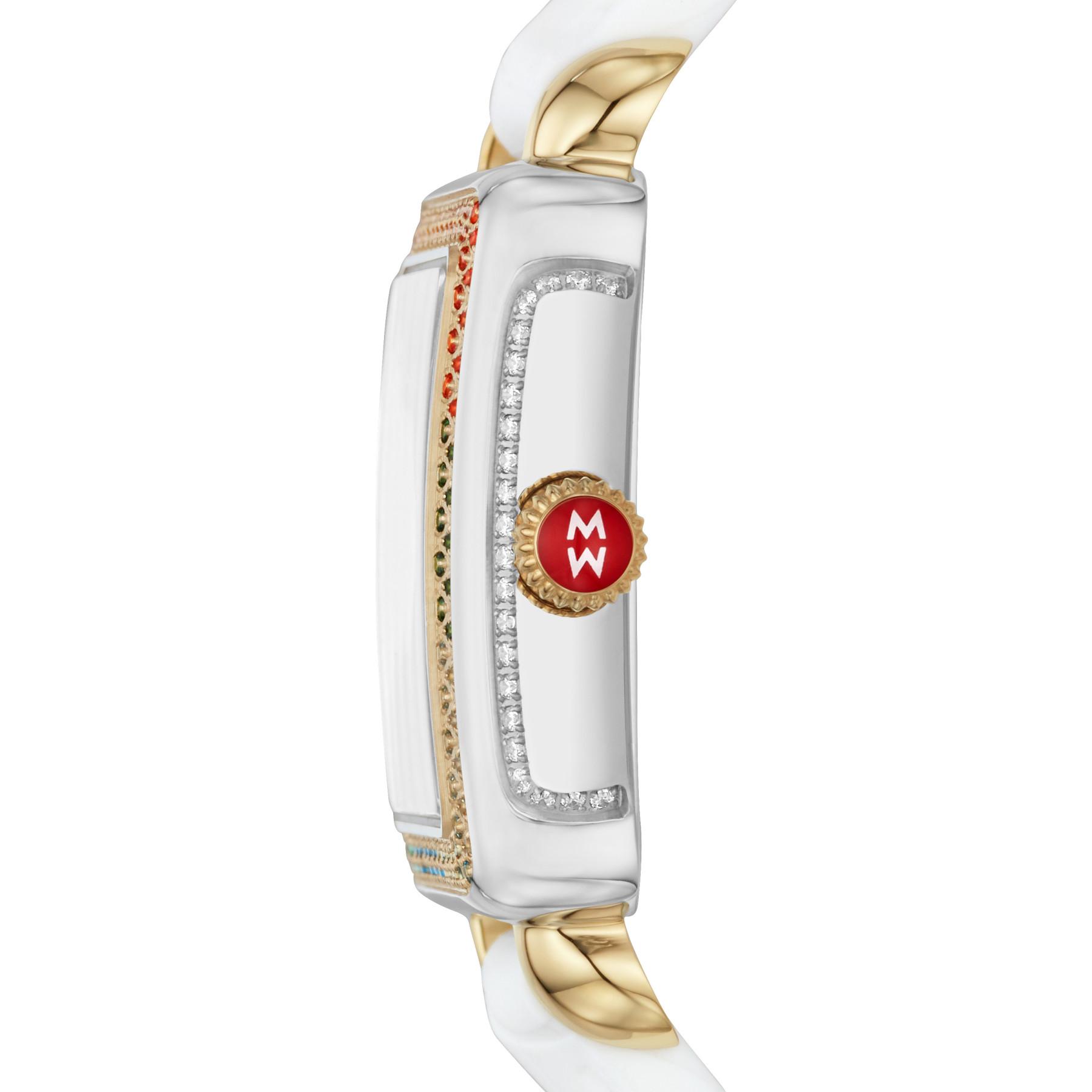 Michele Deco Diamond Carousel Two Tone White Watch – 31mm side view