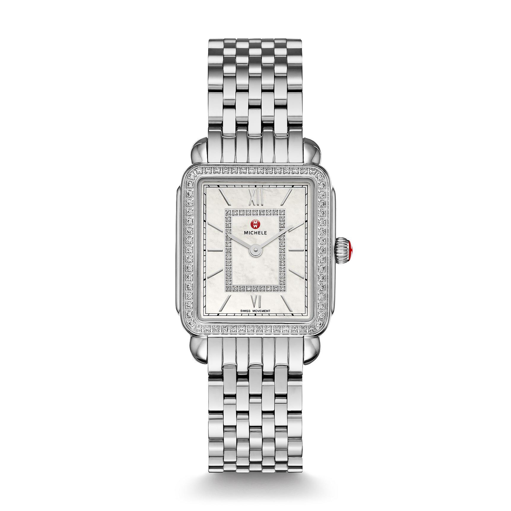 Michele Deco II Mid Stainless Steel Diamond Dial Watch full view