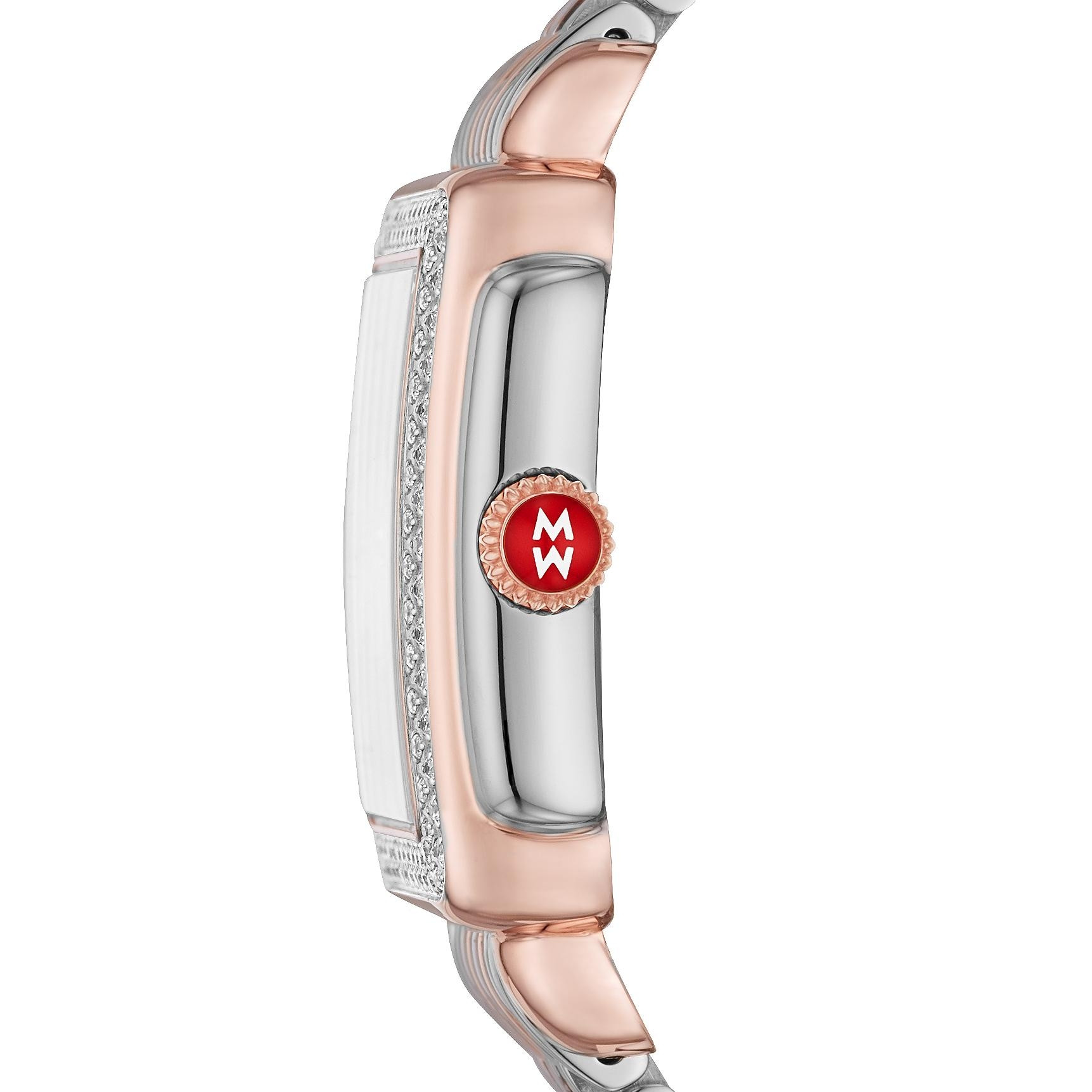 Michele Deco Madison Mid Diamond Dial Watch in Pink Gold and Steel side view