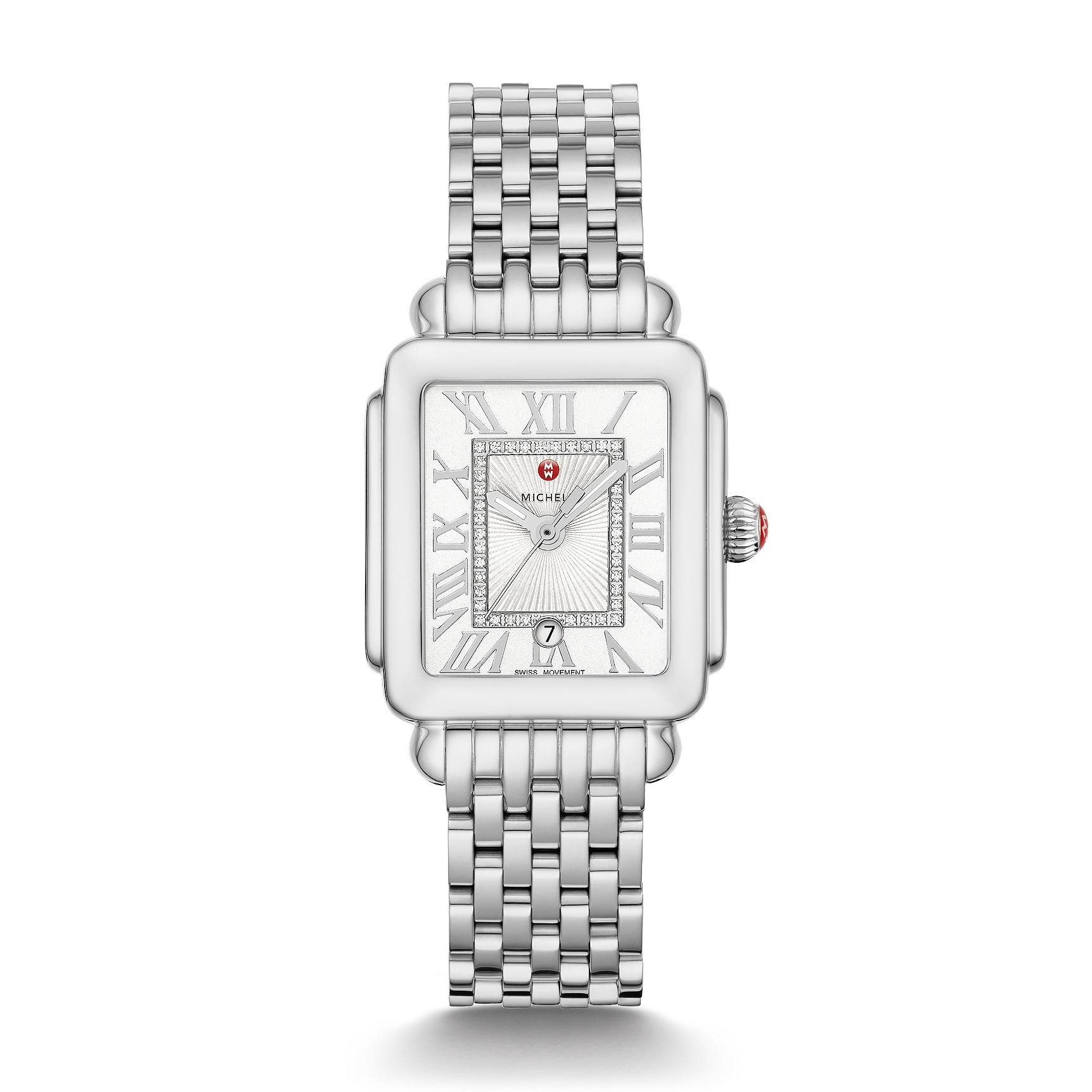 Michele Deco Madison Mid Diamond Dial Watch in Stainless Steel  full view