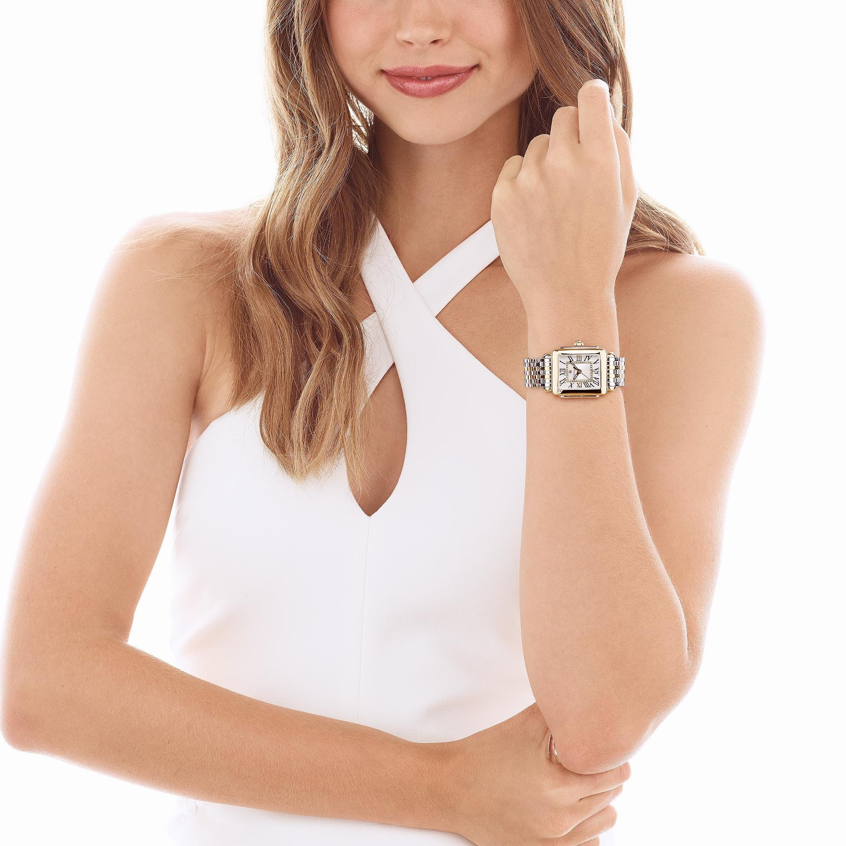 Michele Deco Madison Mid Diamond Dial Watch in Silver and Gold on model