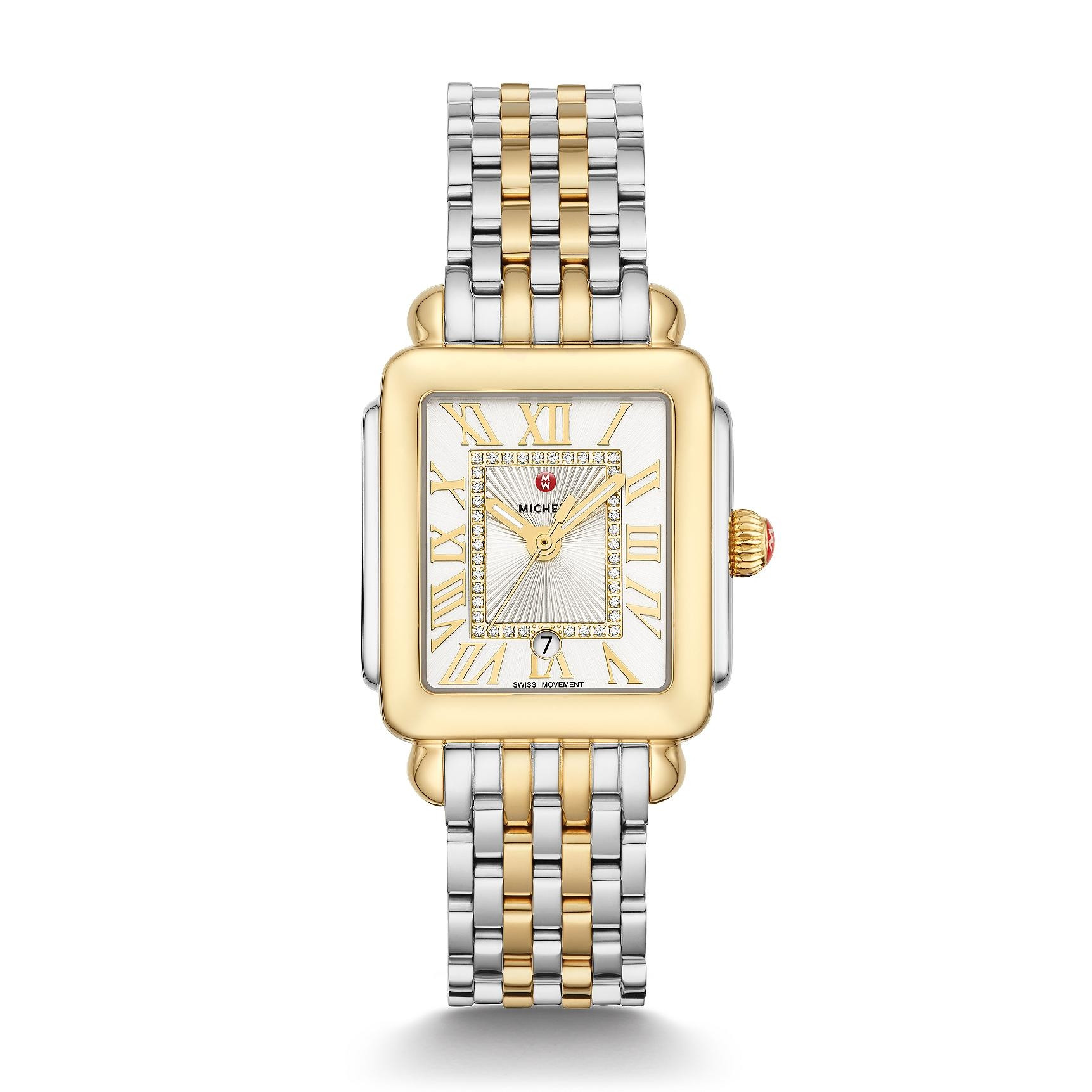 Michele Deco Madison Mid Diamond Dial Watch in Silver and Gold full view