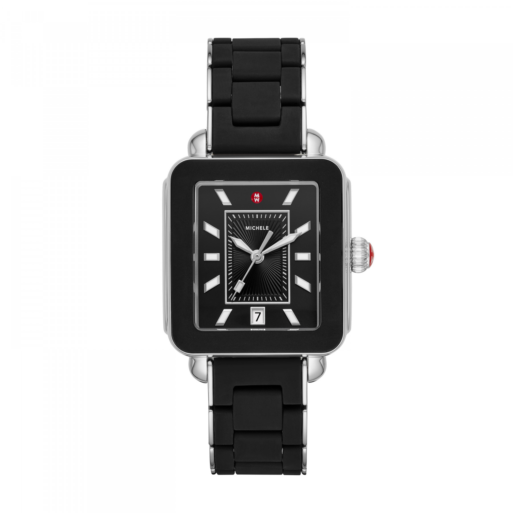 Michele Deco Sport Black and Silver Watch front view