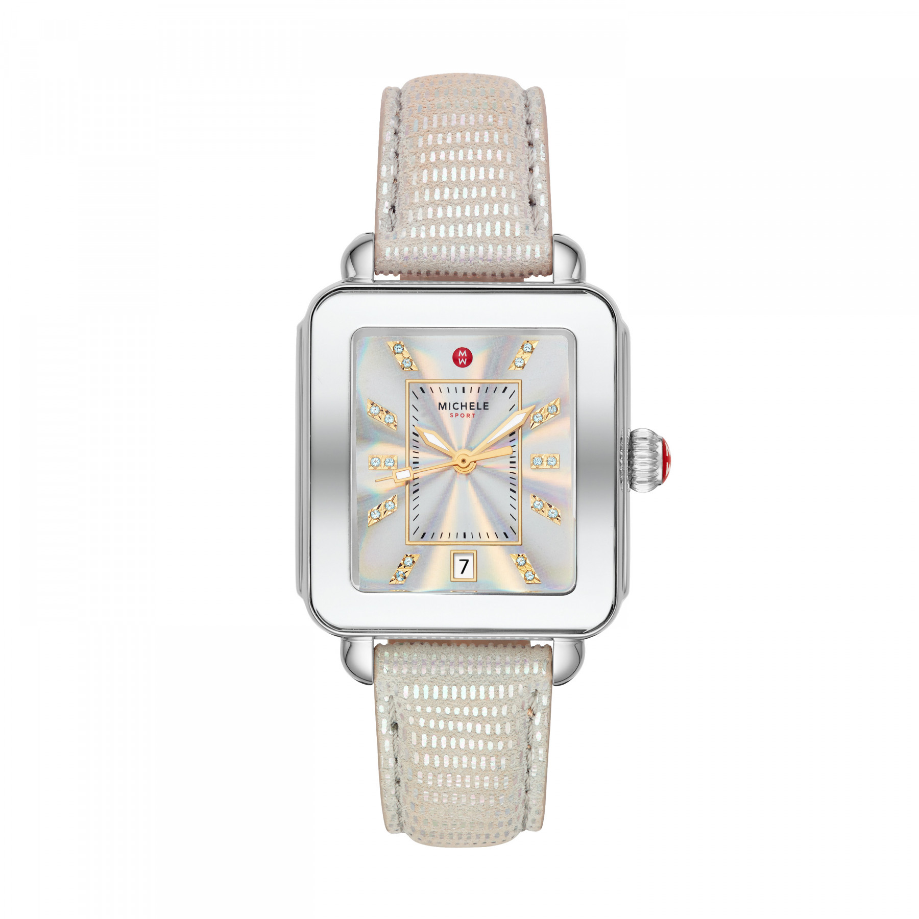 Michele Deco Sport Stainless Steel Iridescent Watch with Diamonds main view