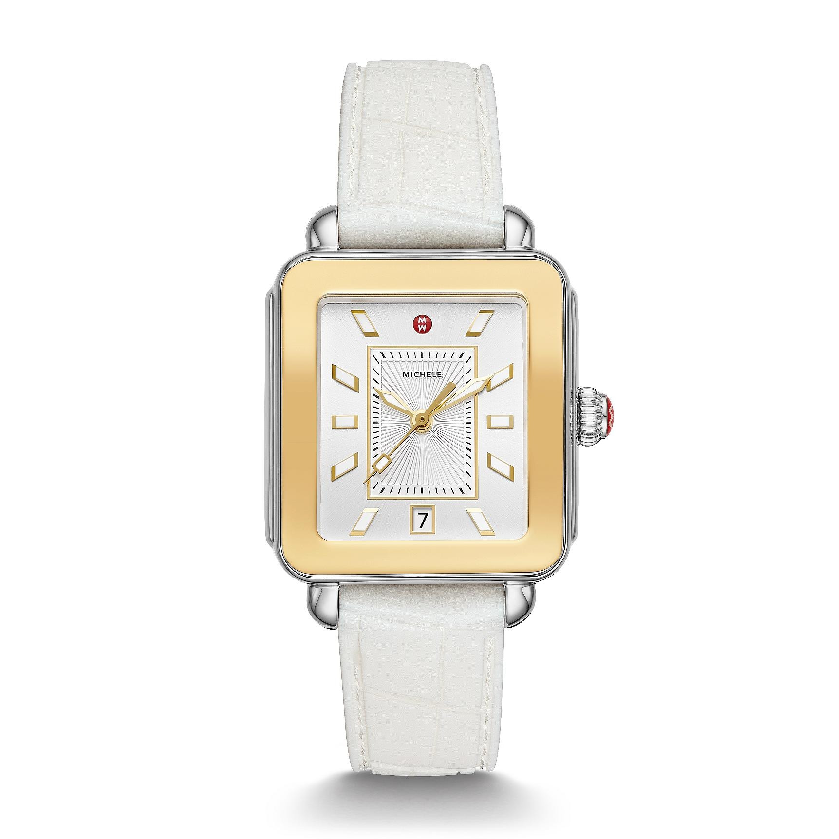 Michele Deco Sport Two Tone Dial White Watch with Yellow Gold front view