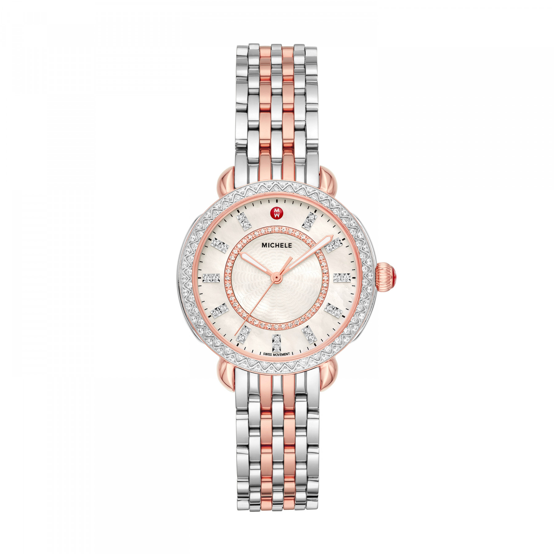 Michele Sidney Classic Two Tone Diamond Watch – 33mm front view