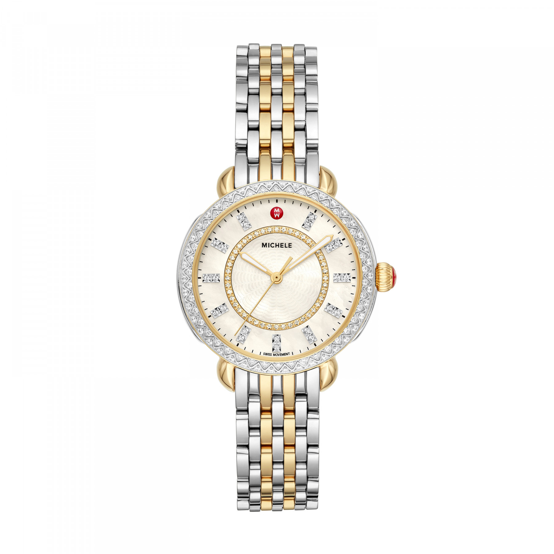 Michele Sidney Classic Steel and Gold Watch - 33mm front view