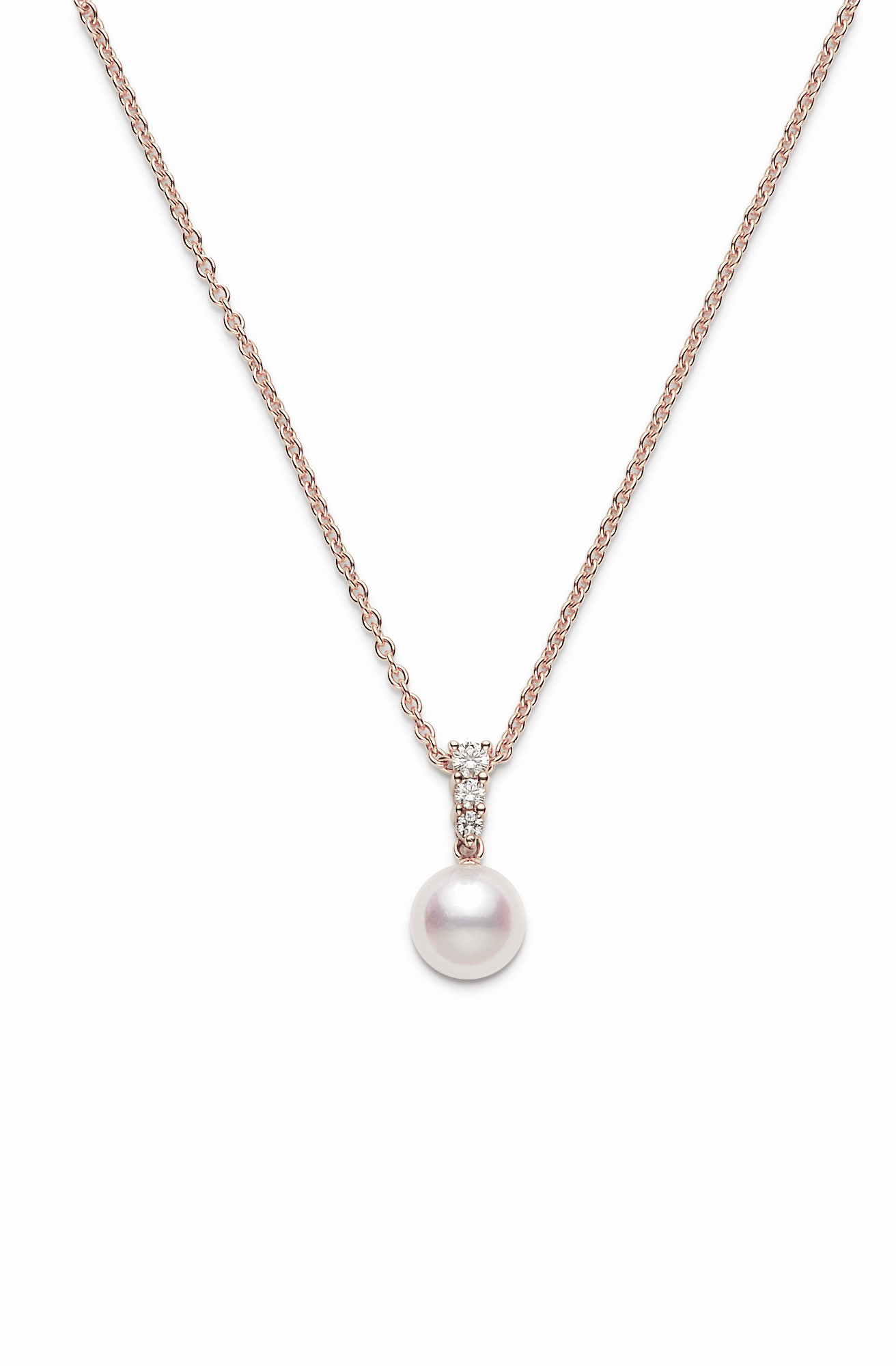 Mikimoto Akoya Pearl and Diamond Necklace in 18K Rose Gold full view