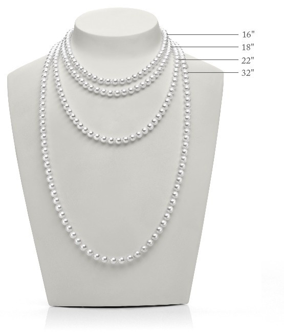Mikimoto 7.5mm A+ Yellow Gold Akoya Pearl Strand Necklace model view